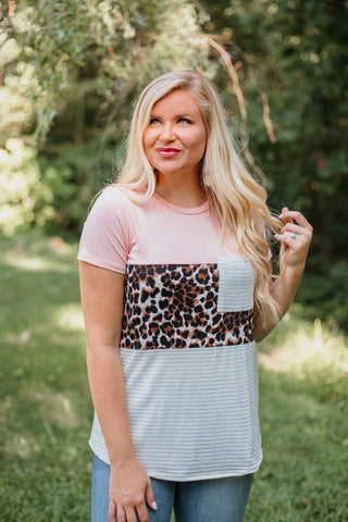 *NEW* Adelaide Color Block Animal Print Top ~ Blush