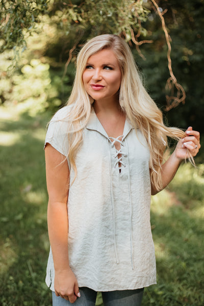 *NEW* Veronica Crinkled Lace Front Top ~ Ivory - ShopBeYouBoutique