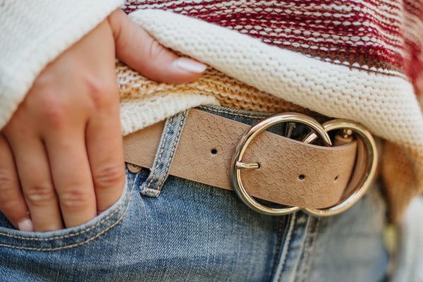 Bianca Leather Belt ~ Taupe Snake - Be You Boutique