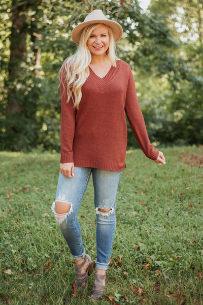 *NEW* Juniper V Neck Knitted Sweater ~ Red Berry - ShopBeYouBoutique