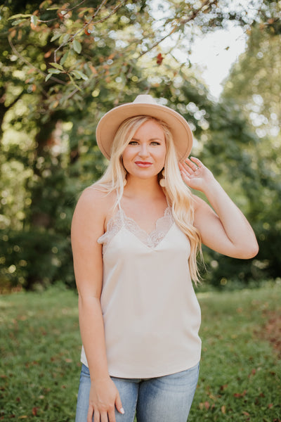 *NEW* Jenny Lace Cami Solid Tank Top ~ Taupe
