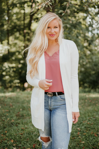 *NEW* Elsie Everyday Long Knit Cardigan with Pockets ~ Ivory