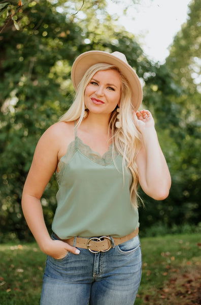 *NEW* Jenny Lace Cami Solid Tank Top ~ Olive - ShopBeYouBoutique