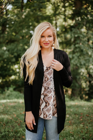 *NEW* Elsie Everyday Long Knit Cardigan with Pockets ~ Black