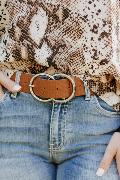 Bianca Leather Belt ~ Tan Snake - Be You Boutique