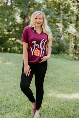 {Last Chance} Fall Y'all Graphic Tee ~ Burgundy - Be You Boutique