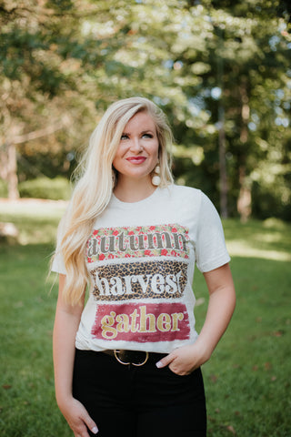 *NEW* Autumn Harvest Gather Graphic  Tee ~ Natural - ShopBeYouBoutique