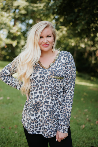 *NEW* Leighton Leopard V Neck Top With Sequins ~ Leopard - ShopBeYouBoutique