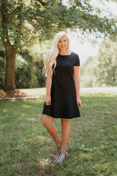 *NEW* Felicity Suede Flare Shift Dress ~ Black - ShopBeYouBoutique