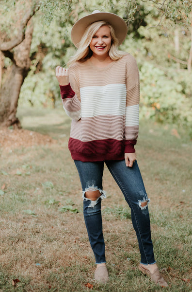 *NEW* Raven Knit Sweater ~ Taupe/Violet - ShopBeYouBoutique
