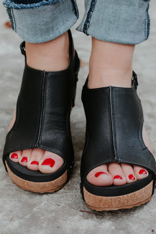 {Last Chance}  Open Toe Wedge ~ Black *FINAL SALE* - Be You Boutique