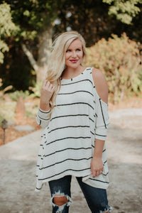 *NEW* Hannah Grace Cold Shoulder Tunic ~ Ivory - ShopBeYouBoutique