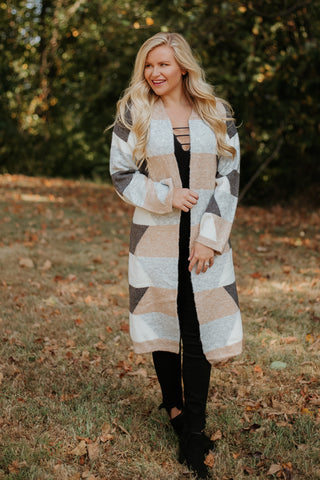 {Last Chance} Helen Stripe Cardigan ~ Taupe/Multi *FINAL SALE* - Be You Boutique