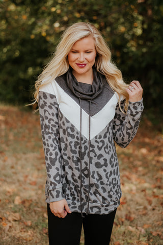 Lynnsey Animal/Solid Mix Match Turtle Neck ~ Charcoal