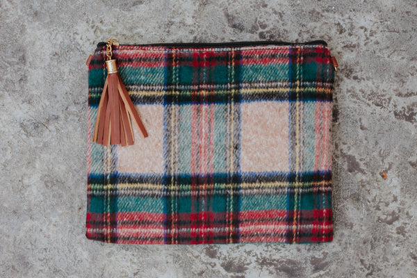 Silia Tartan with Tassel and Detachable Strap ~ Beige