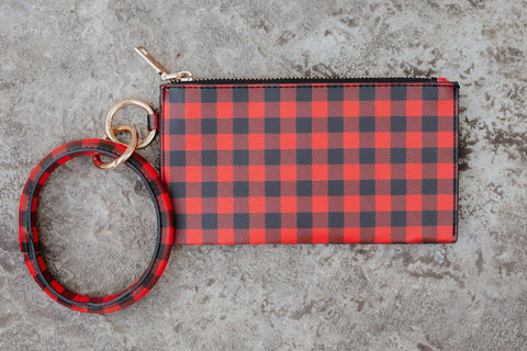 *New* On The Go Key Chain Clutch ~ Red Plaid
