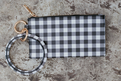 *New* On The Go Key Chain Clutch ~ White Plaid