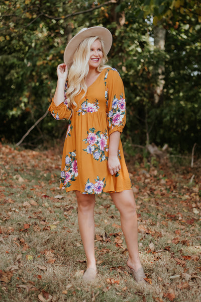 {Last Chance} Ryan 3/4 Sleeve Dress ~ Mustard *FINAL SALE* - Be You Boutique