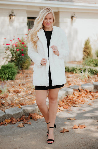 October Lilly Faux Fur Open Jacket ~ Cream