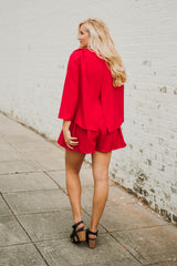 *NEW* Crimson Cape Romper ~ Red