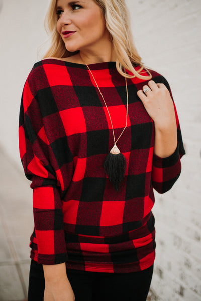 *NEW* Buffalo Plaid Off Shoulder Plaid Top ~ Red/ Black