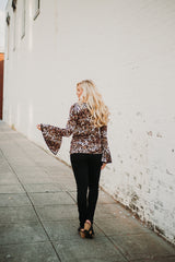 Lacey Bell Sleeved Animal Printl Top ~ Leopard
