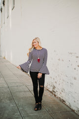 *NEW* Lacey Bell Sleeved Stripe Top ~ Black/White