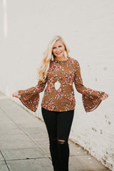 *NEW* Lacey Bell Sleeved Floral Top ~ Curry