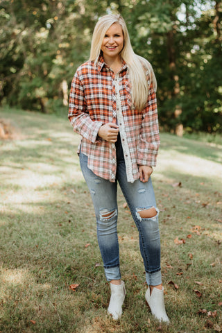 *NEW* POL Kinley Ombre Wash Plaid Button Down ~ Orange Plaid - ShopBeYouBoutique