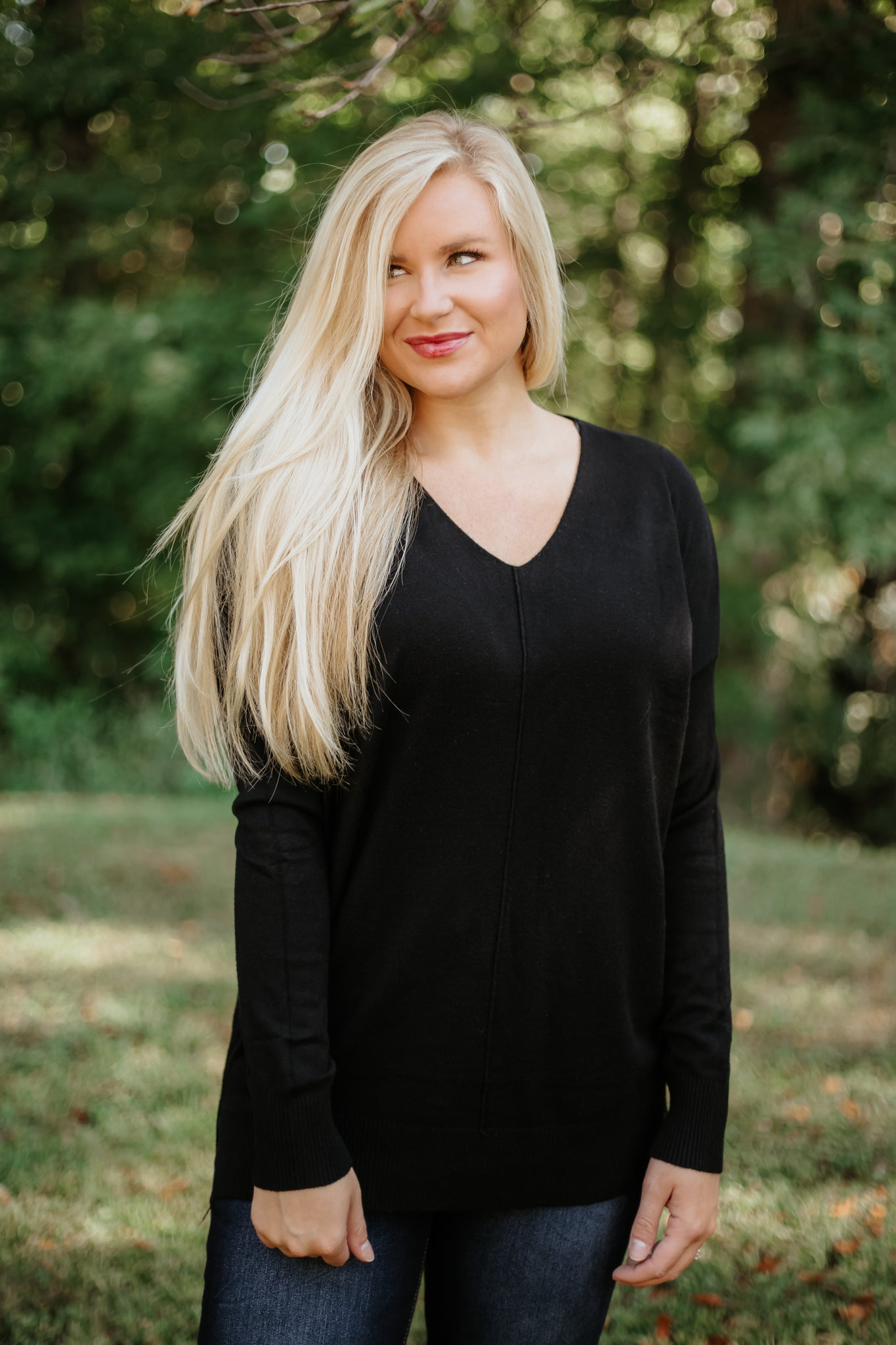 *NEW* All Day Long V-Neck Sweater ~ Black - ShopBeYouBoutique