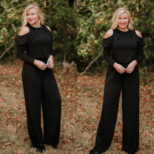 *NEW* Hollie Megan Cold Shoulder Jumpsuit ~ Black - ShopBeYouBoutique