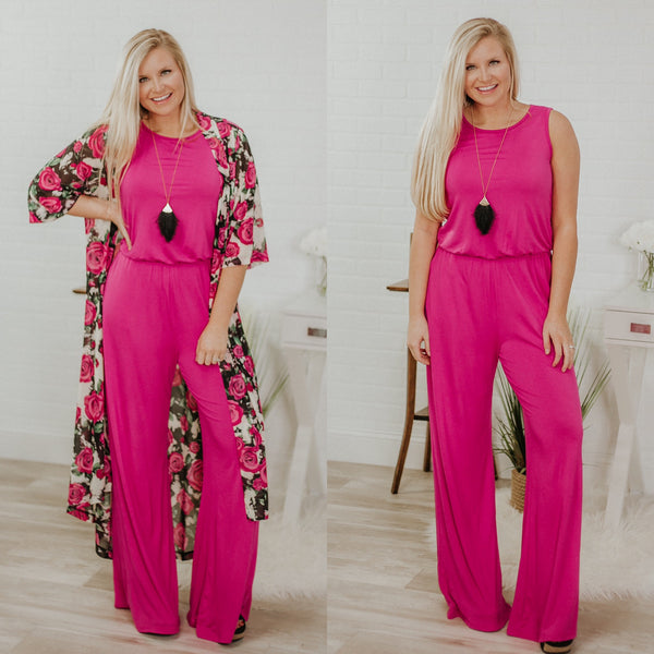 In Control Sleeveless Jumpsuit ~ Hot Pink