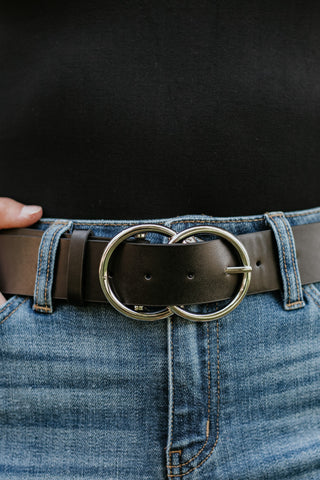 Bianca Vegan Leather Belt ~ Black/Silver