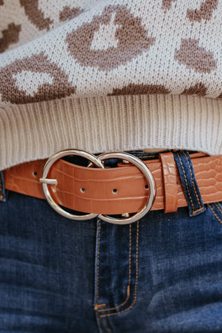 Bianca Vegan Leather Belt ~ Cognac
