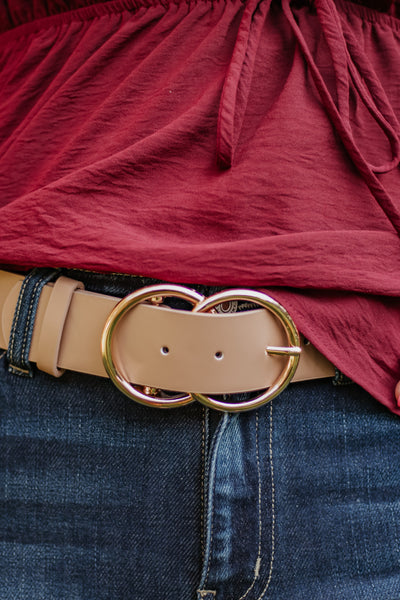 Bianca Vegan Leather Belt ~Taupe