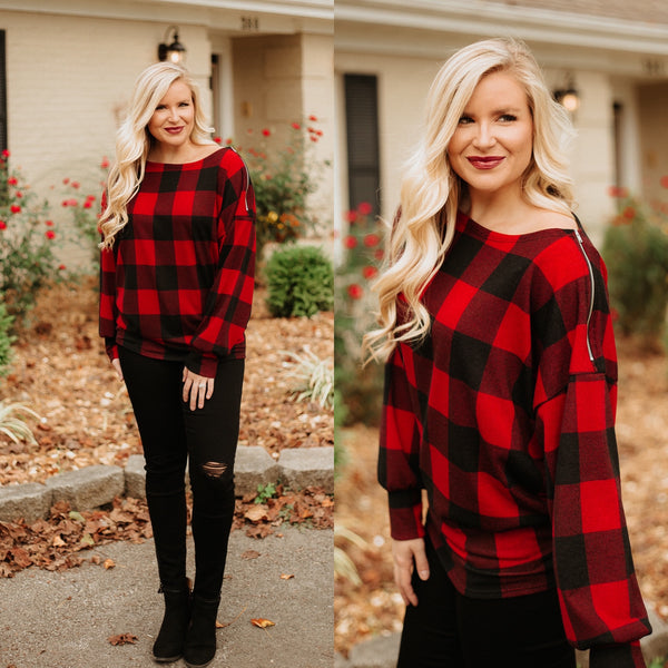 Tina Checkered Plaid Hacci Wide Neck Top ~ Red Checkered