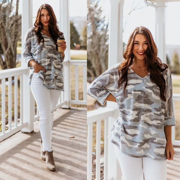 *NEW* Traci Camo Waffle Knit Top