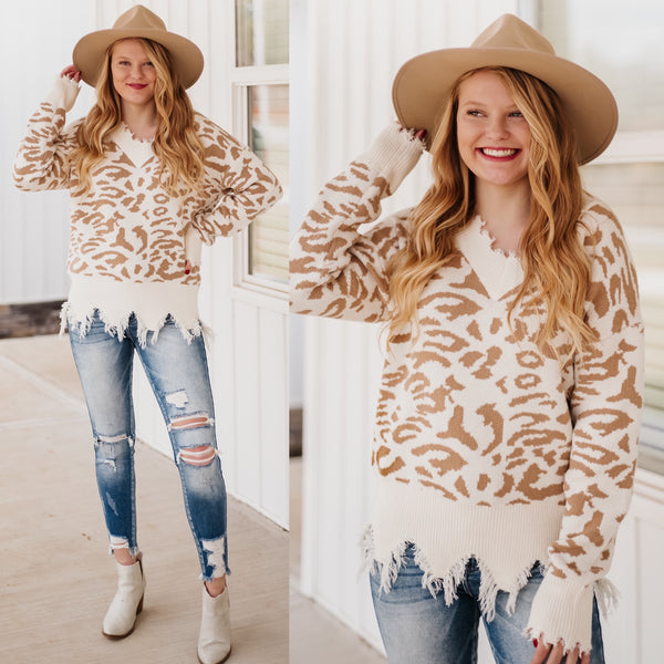 Violet Frayed Animal Print Sweater