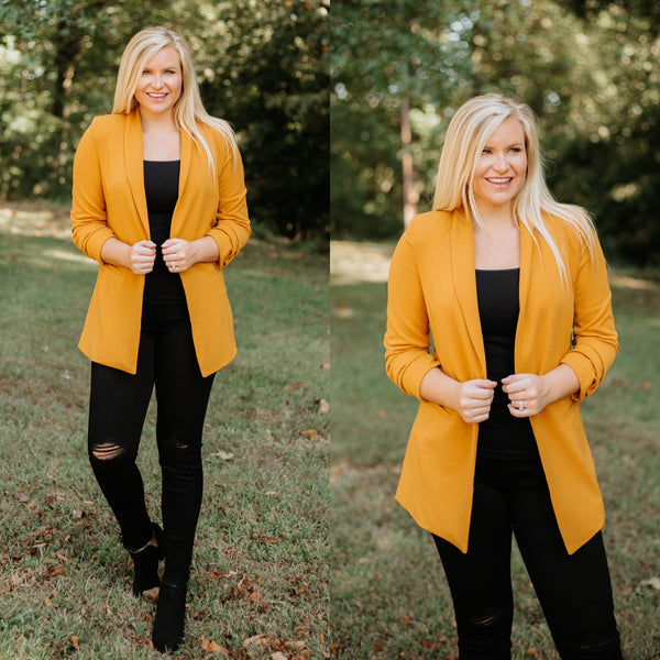 *NEW* Waldorf Blazer ~ Mustard - ShopBeYouBoutique