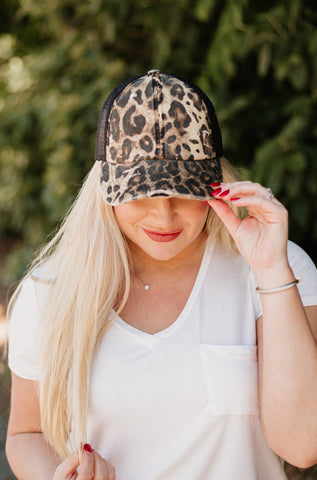 C.C. Washed Denim Crossed Pony Cap ~ Leopard
