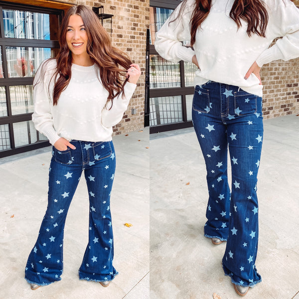 {Last Chance} Cecila High Rise Flare Star Denim *FINAL SALE*