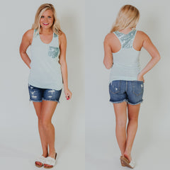 Summer Sparkle Tank ~ Tiffany Blue