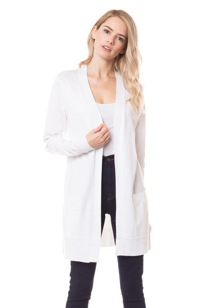 Elsie Everyday Long Knit Cardigan with Pockets ~ Ivory - ShopBeYouBoutique