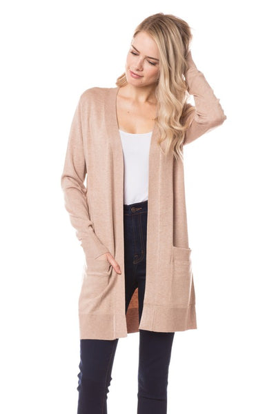Elsie Everyday Long Knit Cardigan with Pockets ~ Dusty Pink - ShopBeYouBoutique