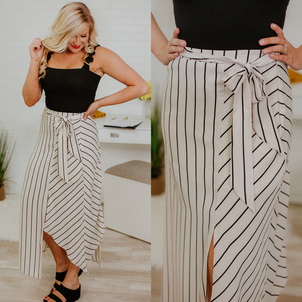 You're The One Striped Skirt ~ Beige