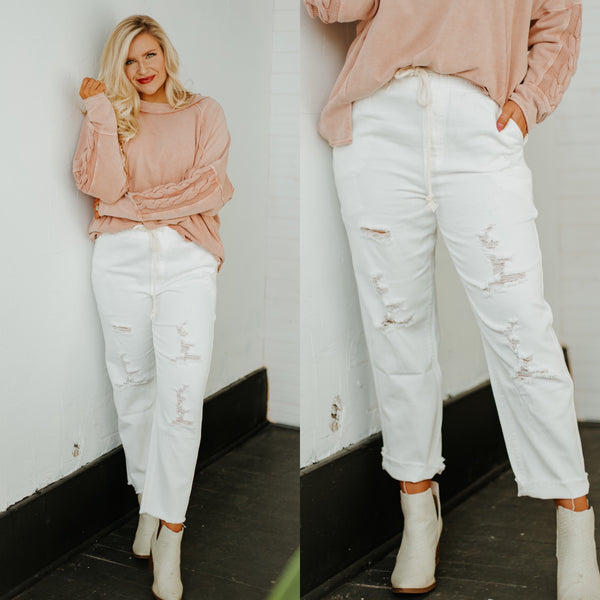 *NEW* In Time Denim Pants ~ White Denim - Be You Boutique
