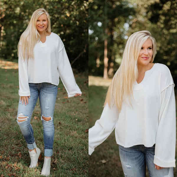 *NEW* Yorklynn V-Neck Wide Long Sleeve Top ~ Off White - ShopBeYouBoutique