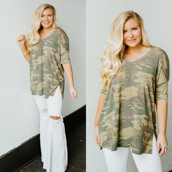 {Last Chance} Billie Camo V Neck Top ~ Army Green *FINAL SALE*