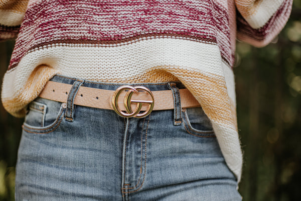 GiGi Slim Vegan Leather Belt ~ Taupe