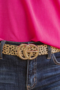GiGi Slim Vegan Leather Belt ~ Beige Animal Print